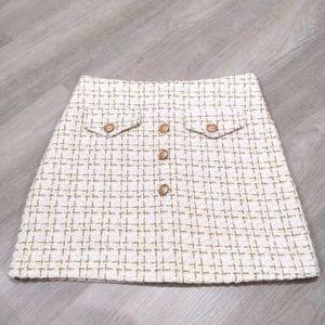 Sparkly woven gold & cream a line mini skirt